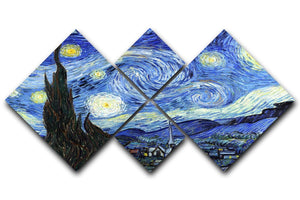 Van Gogh Starry Night 4 Square Multi Panel Canvas  - Canvas Art Rocks - 1