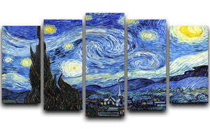Van Gogh Starry Night 5 Split Panel Canvas  - Canvas Art Rocks - 1