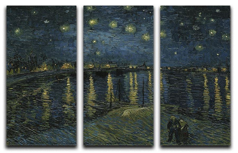 Van Gogh Starry Night over the Rhone 3 Split Panel Canvas Print - Canvas Art Rocks - 4