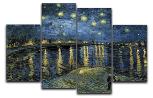 Van Gogh Starry Night over the Rhone 4 Split Panel Canvas  - Canvas Art Rocks - 1