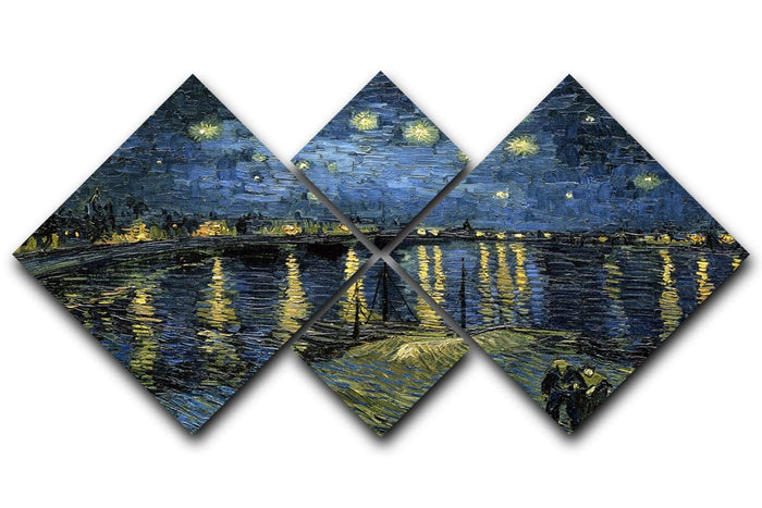 Van Gogh Starry Night over the Rhone 4 Square Multi Panel Canvas