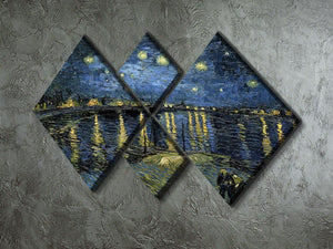 Van Gogh Starry Night over the Rhone 4 Square Multi Panel Canvas - Canvas Art Rocks - 2