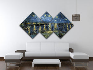 Van Gogh Starry Night over the Rhone 4 Square Multi Panel Canvas - Canvas Art Rocks - 3