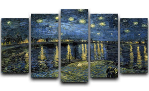 Van Gogh Starry Night over the Rhone 5 Split Panel Canvas  - Canvas Art Rocks - 1