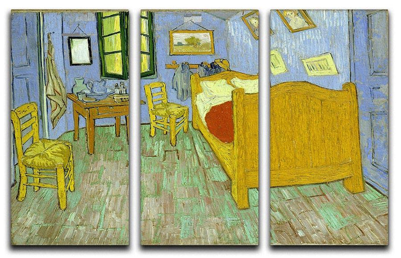 Van Gogh Vincents bedroom 3 Split Panel Canvas Print - Canvas Art Rocks - 4