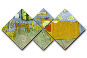 Van Gogh Vincents bedroom 4 Square Multi Panel Canvas  - Canvas Art Rocks - 1