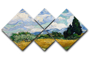 Van Gogh Wheat Field with Cypresses 4 Square Multi Panel Canvas  - Canvas Art Rocks - 1
