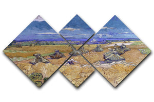 Van Gogh Wheat Fields with Reaper at Auvers 4 Square Multi Panel Canvas  - Canvas Art Rocks - 1
