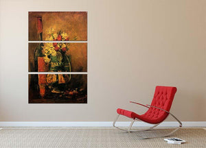 Vase with Carnations and Roses and a Bottle by Van Gogh 3 Split Panel Canvas Print - Canvas Art Rocks - 2
