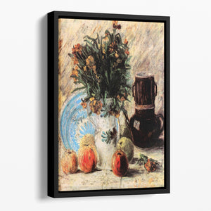 Vase with Flowers Coffeepot and Fruit by Van Gogh Floating Framed Canvas