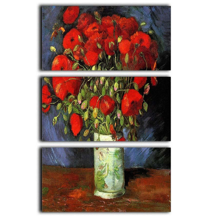 Vase with Red Poppies by Van Gogh 3 Split Panel Canvas Print
