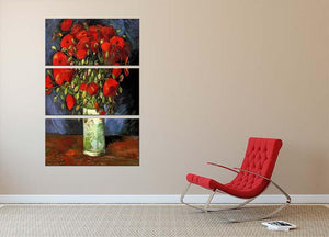 Vase with Red Poppies by Van Gogh 3 Split Panel Canvas Print - Canvas Art Rocks - 2
