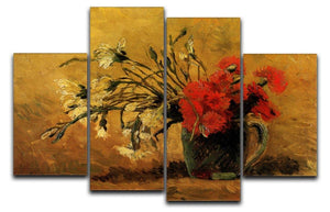 Vase with Red and White Carnations on Yellow Background by Van Gogh 4 Split Panel Canvas  - Canvas Art Rocks - 1