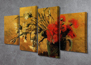 Vase with Red and White Carnations on Yellow Background by Van Gogh 4 Split Panel Canvas - Canvas Art Rocks - 2