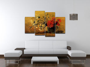 Vase with Red and White Carnations on Yellow Background by Van Gogh 4 Split Panel Canvas - Canvas Art Rocks - 3