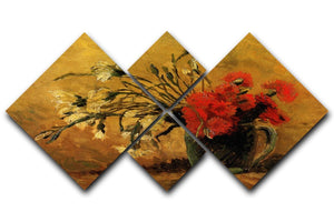 Vase with Red and White Carnations on Yellow Background by Van Gogh 4 Square Multi Panel Canvas  - Canvas Art Rocks - 1