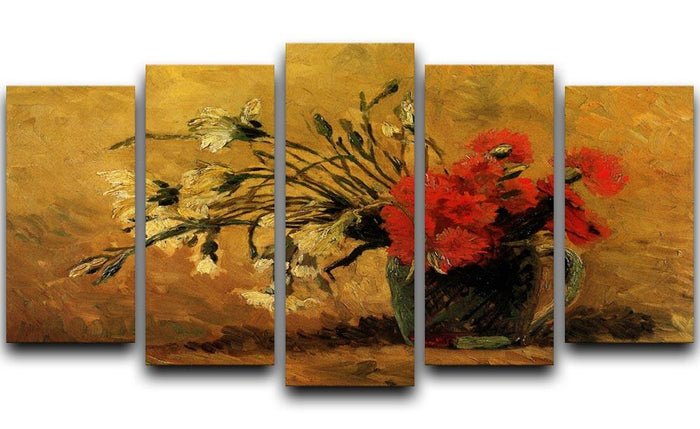 Vase with Red and White Carnations on Yellow Background by Van Gogh 5 Split Panel Canvas