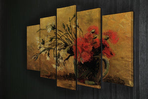 Vase with Red and White Carnations on Yellow Background by Van Gogh 5 Split Panel Canvas - Canvas Art Rocks - 2