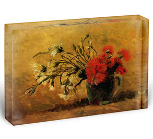 Vase with Red and White Carnations on Yellow Background by Van Gogh Acrylic Block - Canvas Art Rocks - 1