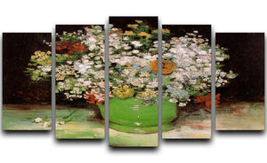 Vase with Zinnias and Other Flowers by Van Gogh 5 Split Panel Canvas  - Canvas Art Rocks - 1