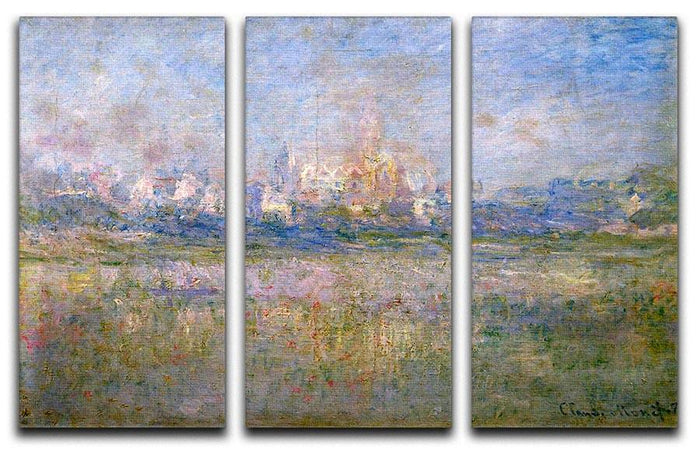 Vctheuil in the fog by Monet Split Panel Canvas Print