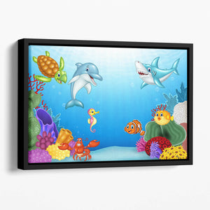 Vector illustration of Cartoon tropical fish Floating Framed Canvas