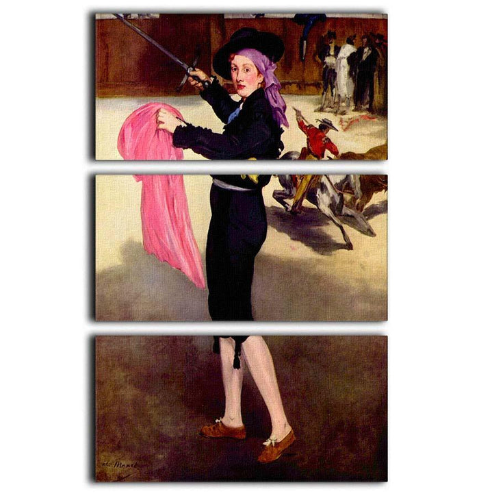 Victorine in the Costume of a Matador by Manet 3 Split Panel Canvas Print