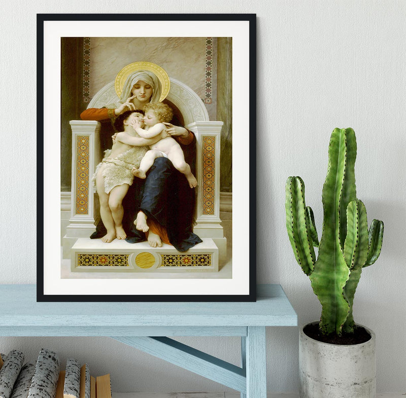 Vierge-Jesus SaintJeanBaptiste 1875 By Bouguereau Framed Print - Canvas Art Rocks - 1