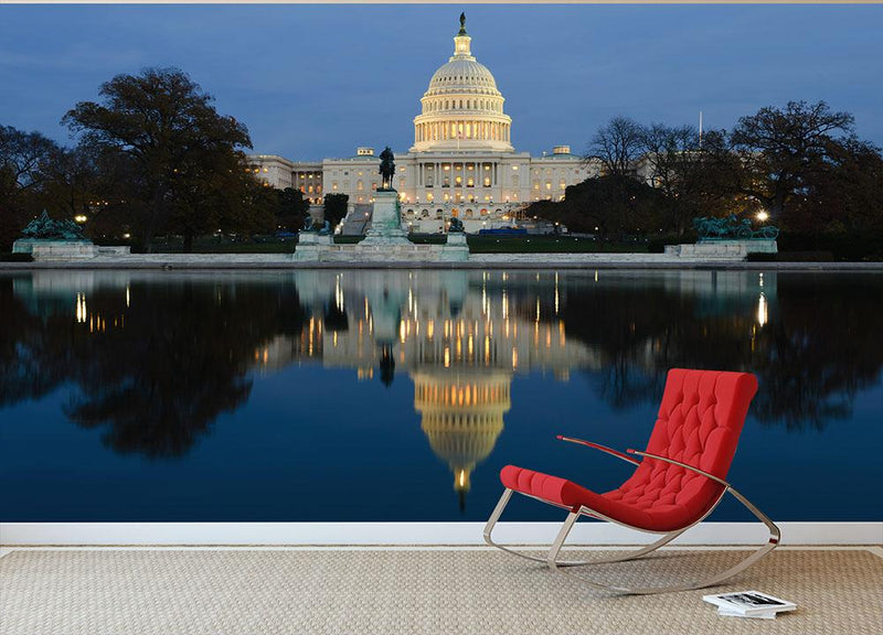 View Capitol in Washington dusk Wall Mural Wallpaper - Canvas Art Rocks - 1