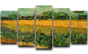 View of Arles with Irises in the Foreground by Van Gogh 5 Split Panel Canvas  - Canvas Art Rocks - 1