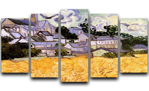 View of Auvers with Church by Van Gogh 5 Split Panel Canvas  - Canvas Art Rocks - 1