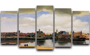View of Delft by Vermeer 5 Split Panel Canvas - Canvas Art Rocks - 1