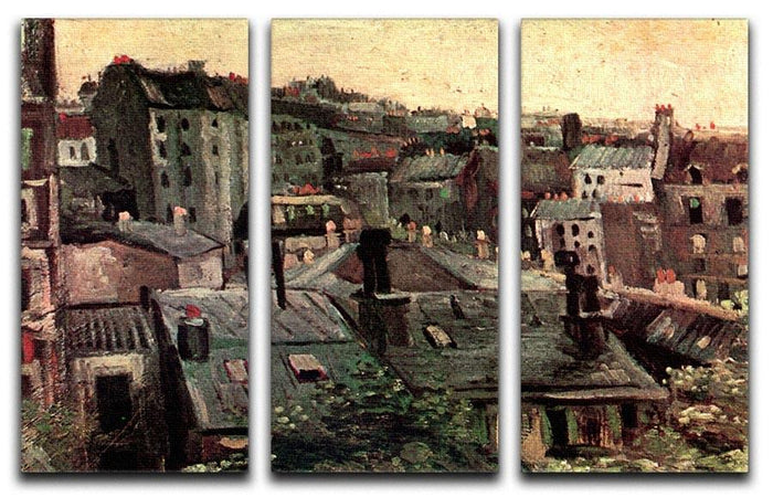 View of Roofs and Backs of Houses by Van Gogh 3 Split Panel Canvas Print