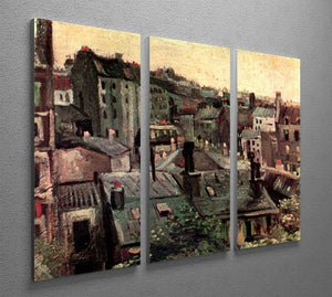View of Roofs and Backs of Houses by Van Gogh 3 Split Panel Canvas Print - Canvas Art Rocks - 4