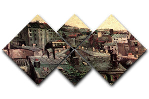 View of Roofs and Backs of Houses by Van Gogh 4 Square Multi Panel Canvas  - Canvas Art Rocks - 1