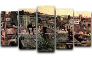 View of Roofs and Backs of Houses by Van Gogh 5 Split Panel Canvas  - Canvas Art Rocks - 1