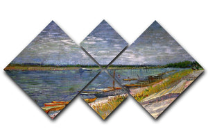 View of a River with Rowing Boats by Van Gogh 4 Square Multi Panel Canvas  - Canvas Art Rocks - 1