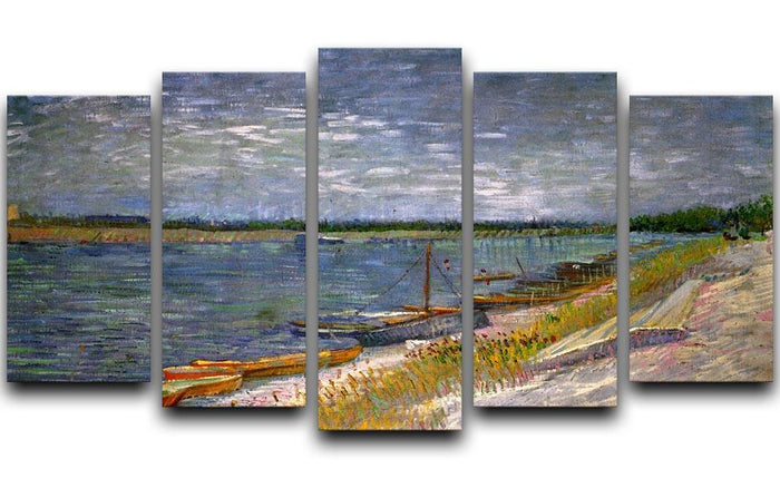 View of a River with Rowing Boats by Van Gogh 5 Split Panel Canvas