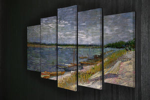 View of a River with Rowing Boats by Van Gogh 5 Split Panel Canvas - Canvas Art Rocks - 2