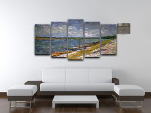 View of a River with Rowing Boats by Van Gogh 5 Split Panel Canvas - Canvas Art Rocks - 3