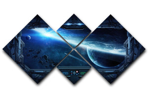 View of outer space from the window of a space station 4 Square Multi Panel Canvas  - Canvas Art Rocks - 1