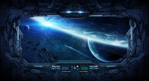 View of outer space from the window of a space station Wall Mural Wallpaper - Canvas Art Rocks - 1