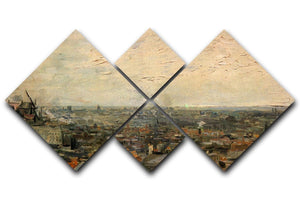 View of paris from Montmarte by Van Gogh 4 Square Multi Panel Canvas  - Canvas Art Rocks - 1