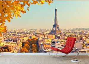 View on Eiffel tower at sunset Wall Mural Wallpaper - Canvas Art Rocks - 2