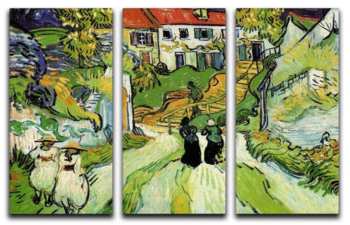 Village Street and Steps in Auvers with Figures by Van Gogh 3 Split Panel Canvas Print