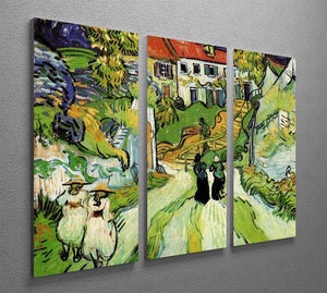 Village Street and Steps in Auvers with Figures by Van Gogh 3 Split Panel Canvas Print - Canvas Art Rocks - 4