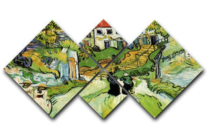 Village Street and Steps in Auvers with Figures by Van Gogh 4 Square Multi Panel Canvas  - Canvas Art Rocks - 1