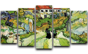 Village Street and Steps in Auvers with Figures by Van Gogh 5 Split Panel Canvas  - Canvas Art Rocks - 1