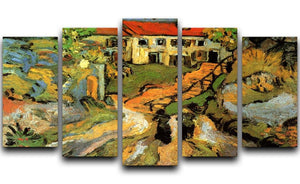 Village Street and Steps in Auvers with Two Figures by Van Gogh 5 Split Panel Canvas  - Canvas Art Rocks - 1
