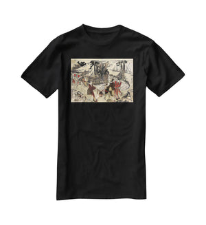 Village near a bridge by Hokusai T-Shirt - Canvas Art Rocks - 1